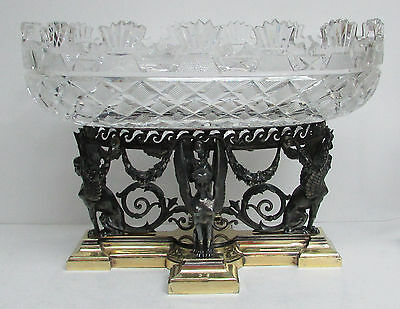 Fabulous Elkington Egyptian Revival 4 Winged Sphinx &  Cut Crystal Centerpiece