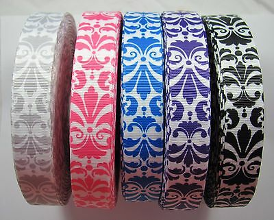 "BB Ribbon LARGE DAMASK 2m grosgrain 7/8"" hair bows patterns CHOICE OF COLOURS"