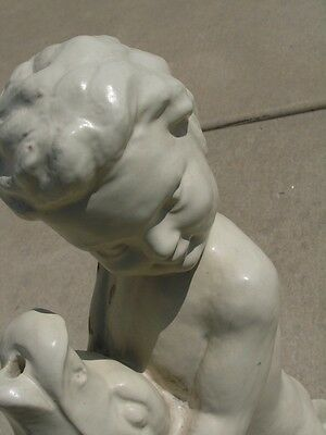Rare Early Antique Glazed Terracotta Architectural Fountain Centr Putti Boy Fish