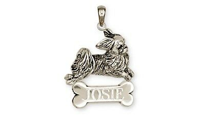 Japanese Chin Personalized Pendant Handmade Sterling Silver Dog Jewelry JC6-NP