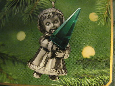 2001 Hallmark Miniature RADIANT CHRISTMAS Ornament PEWTER & CRYSTAL