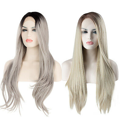 """22""""  24"""" Heat Resistant Lace Front Wig Synthetic Ombre Long Full Women Hair Wigs"""