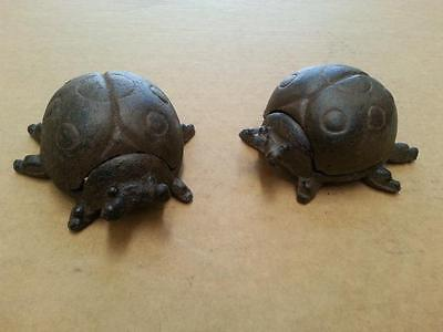 A pair of Cast Iron Ladybird Garden Decor Key Holder Box Ornament Rustic