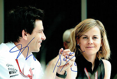 Susie & Toto WOLFF Double Signed Autograph Portrait Formula 1 Photo AFTAL COA