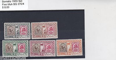 1953 Somalia, Set of Five, Mint Never Hinged, SG 270/4, Benadir Italiane