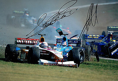 Alex ZANARDI & Alex WURZ Double Signed 12x8 Formula 1 Photo Autograph AFTAL COA