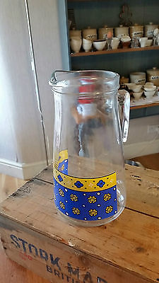 Vintage Tall Glass Water / Juice Jug – Blue & Yellow Flowers – Retro! –