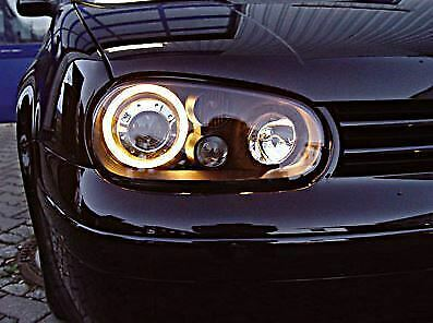Vw Golf Mk4 1998-2004 Black Angel Eyes Halo Headlights Pair