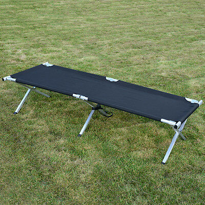 BLACK US CAMP BED - Folding Camping Cot Military Army Water Resistant Bag