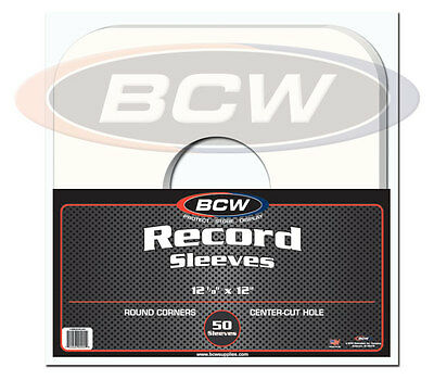Pack of 50 BCW 33RPM Archival White Paper Record Album Sleeves - Round Corners
