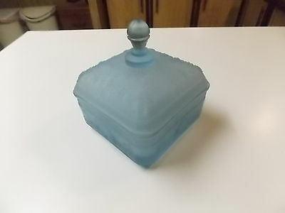 Tiara Light Blue Satin / Frosted Glass Honey Bee Candy Dish with Lid