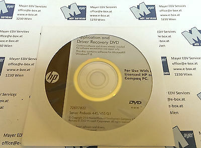 Application and Driver recovery DVD for HP Probook 445/455 G1