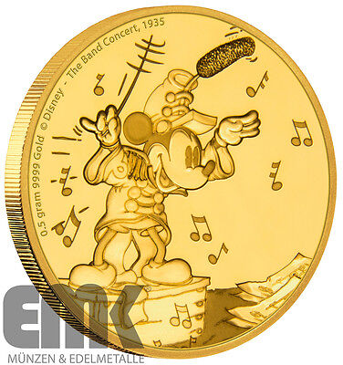 Niue - 2,5 Dollar 2016 - Mickey - Band Concert - 1/62 Oz. Gold Polierte Platte