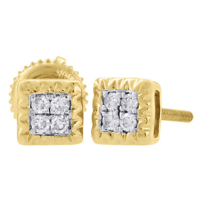 10K Yellow Gold Genuine Diamond Stud Fluted Design Square 5.20mm Earrings 1/10Ct