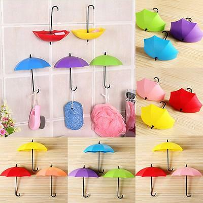 6Pc Creative Colorful Umbrella Wall Mount Key Holder Wall Hook Hanger Organizer