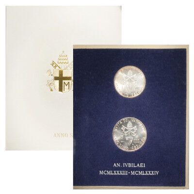 Vatican Holy Year Official Mint Set 2 Silver Coins 1983 /1984 MS-93 Mint Packagi
