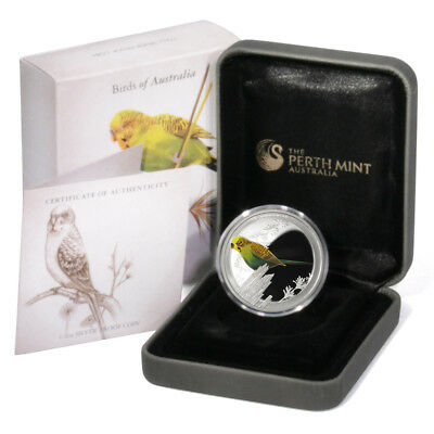Birds of Australia Budgerigar Budgee 50c 2013 1/2 oz Colored Proof Silver Coin B