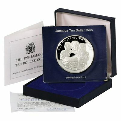 Jamaica Out of Many, One People $10 1978 Franklin Mint Silver Proof Box & COA