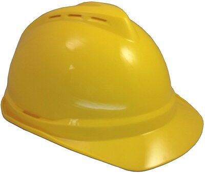 Yellow MSA Advance Vented Hard Hat with Ratchet Suspension