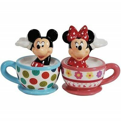 Disney's Mickey & Minnie Mouse in Teacups Ceramic Salt and Pepper Shakers SEALED
