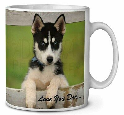 Husky Pup 'Love You Dad' Coffee/Tea Mug Christmas Stocking Filler Gift, DAD-56MG