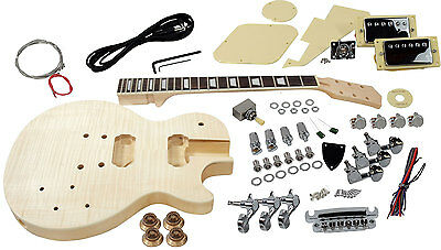Solo LP Style DIY Guitar Kit, Basswood Body, Flame Maple Top