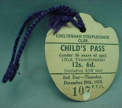 Cheltenham Steeplechase Club Childs Day Pass Badge Dec 29th 1955 Horse Race