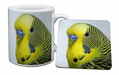 Yellow Budgerigar, Budgie Mug+Coaster Christmas/Birthday Gift Idea, AB-51MC