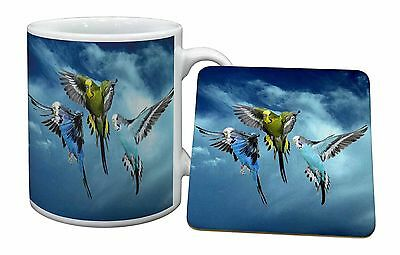 Budgies in Flight Mug+Coaster Christmas/Birthday Gift Idea, AB-96MC