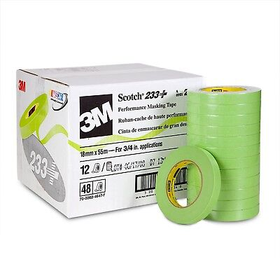 "3M 26334 Scotch 3/4"" Performance Masking Tape 233+ 18mm Green 48 Rolls Case Pack"