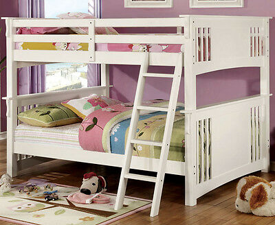 1a848164ab6 New Ollie White Oak Dark Walnut Finish Wood Full Over Full Bunk Bed W   Ladder