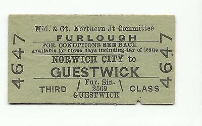 Midland & GN ticket, Norwich City to Guestwick