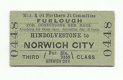 Midland & GN ticket, Hindolvestone to Norwich City