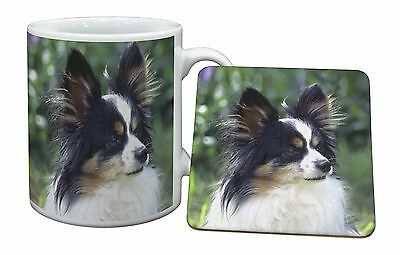 Papillon Dog Mug+Coaster Christmas/Birthday Gift Idea, AD-PA62MC