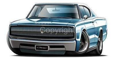 1966 1967 Dodge Charger Muscle Car Cartoon Tshirt 9534 Cartoontees