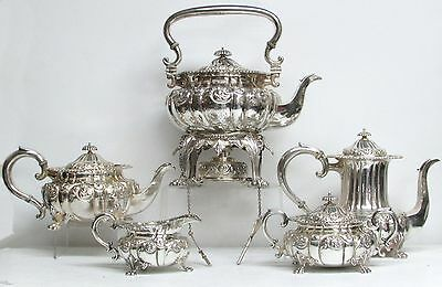 Fabulous Howard & Co Sterling Silver Rococo 5 Piece Coffee & Tea Set