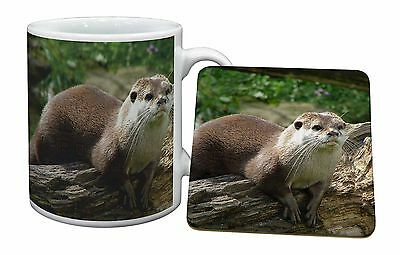 River Otter Mug+Coaster Christmas/Birthday Gift Idea, AO-2MC
