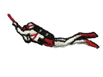 Scuba Diver Red Black Embroidered Sew On Patch Applique