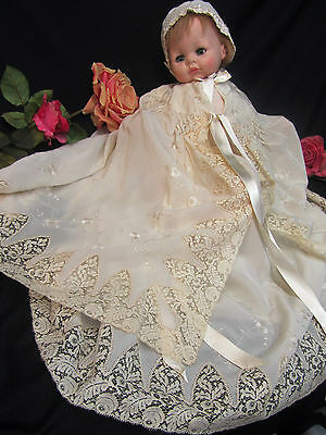 ANTIQUE Art Deco SILK lace EMBROIDERY baby CHRISTENING gown CAPE hat DOLL dress