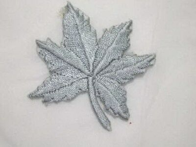 Grey Maple Leaf Embroidered Iron On Patch 2 In