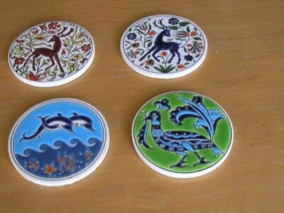 Group of 4 Vintage Round Hand Painted Enameled Tile Greek Artist Niarchos Hellas