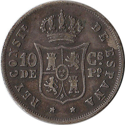 1885 Philippines (Spanish) 10 Centimos Silver Coin KM#148