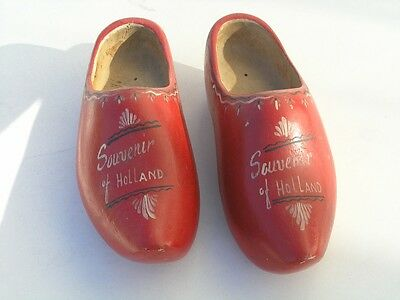 Pair Vintage Holland Made Hand Carved Painted Wooden Dutch Shoes Clogs Klompens