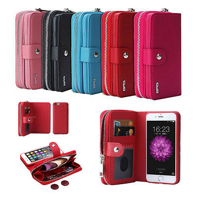 Leather Zipper Detachable Wristlet Wallet Case Cover For iPhone & Samsung Galaxy