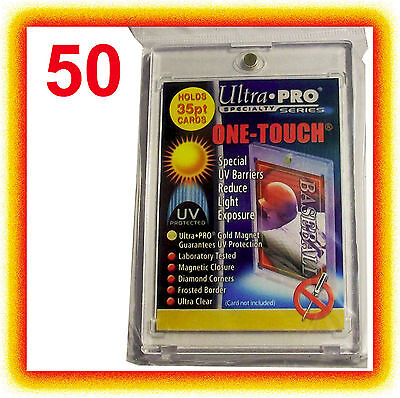 50 Ultra Pro ONE TOUCH MAGNETIC 35pt UV Card Holder Display Case Two Piece 81575