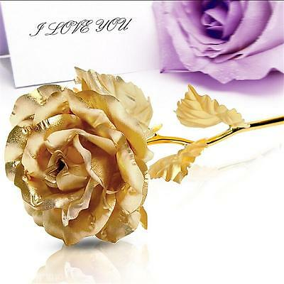 24k Gold Foil Rose Artificial Flower Birthday Valentine's Day Wedding Party Gift