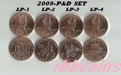 Complete Set 2009 P&d Uncirculated Lincoln Bicentennial Cents - All (8) Coins