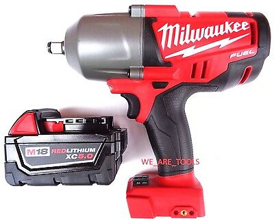 """New Milwaukee FUEL 2763-20 18V 1/2"""" Impact Wrench,(1) 48-11-1850 5.0 Battery M18"""