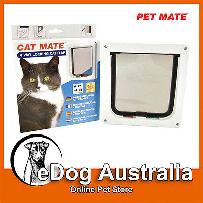 Pet mate CAT MATE 309W/B LARGE MAGNETIC 4 Way Locking CAT FLAP - WHITE & BROWN
