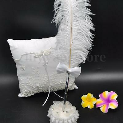 White Ostrich Feather Long Quill With Diamond Signing Pen For Guest Book Wedding